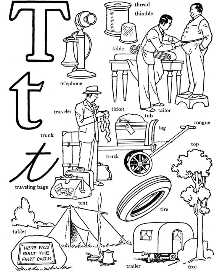 Words From T Alphabet Coloring Page