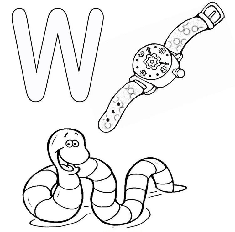 Words From W Free Alphabet Coloring Pages