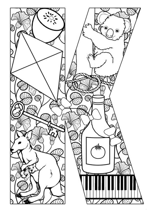 Words Starts With Letter K Coloring Page