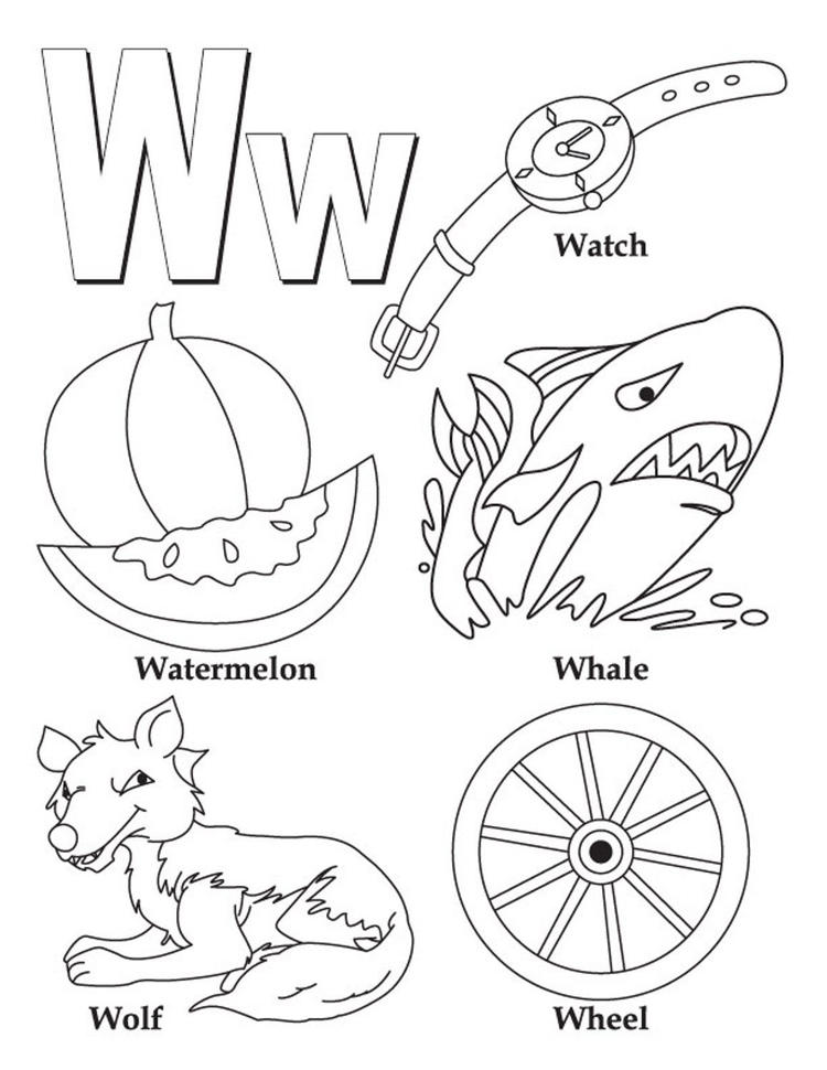 Words W Free Alphabet Coloring Pages