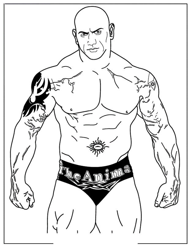 World Wrestling Entertainment Batista Coloring Page Wwe