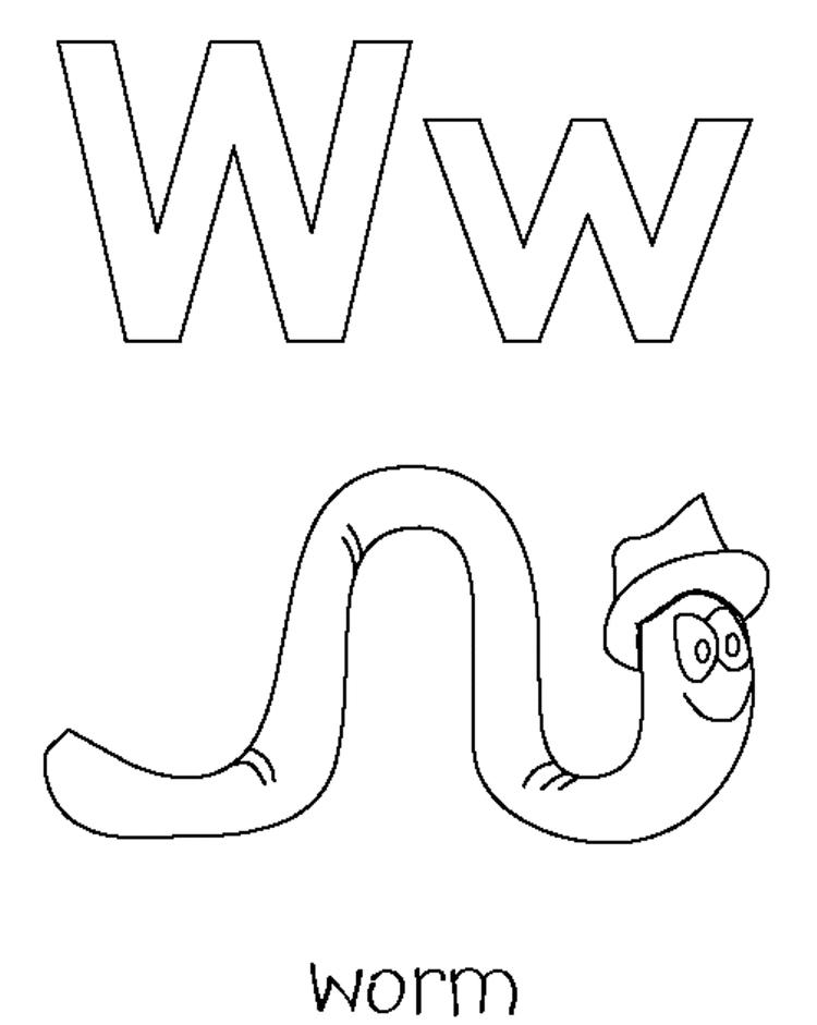 Worm Free Alphabet Coloring Pages