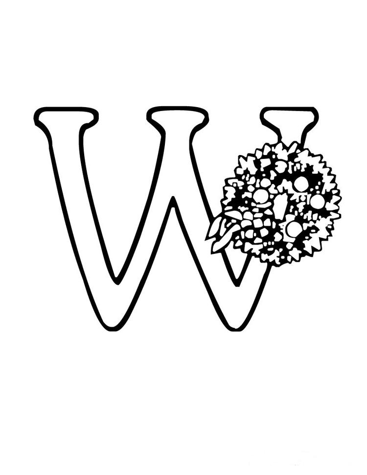 Wreath Free Alphabet Coloring Pages