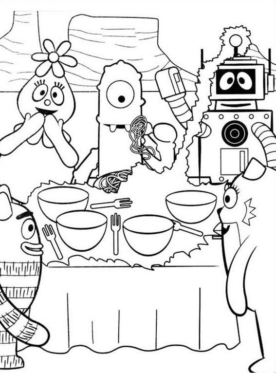 Yo Gabba Gabba In Dining Room Coloring Pages
