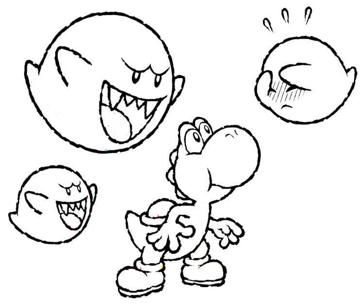 Yoshi Coloring Pages And Boo Boo