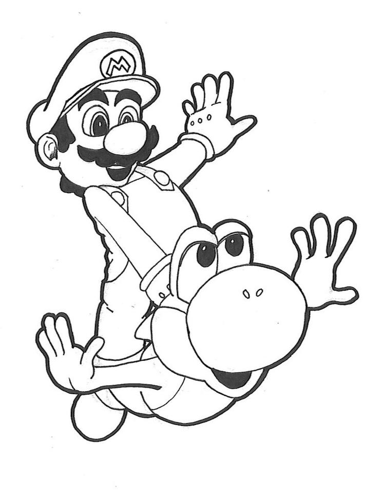 Yoshi Coloring Pages Flying With Mario