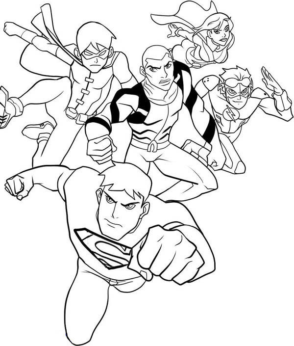 Young Justice League Coloring Pages