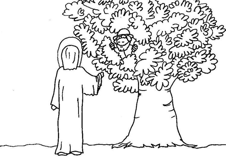 Zacchaeus And Jesus Coloring Pages To Print