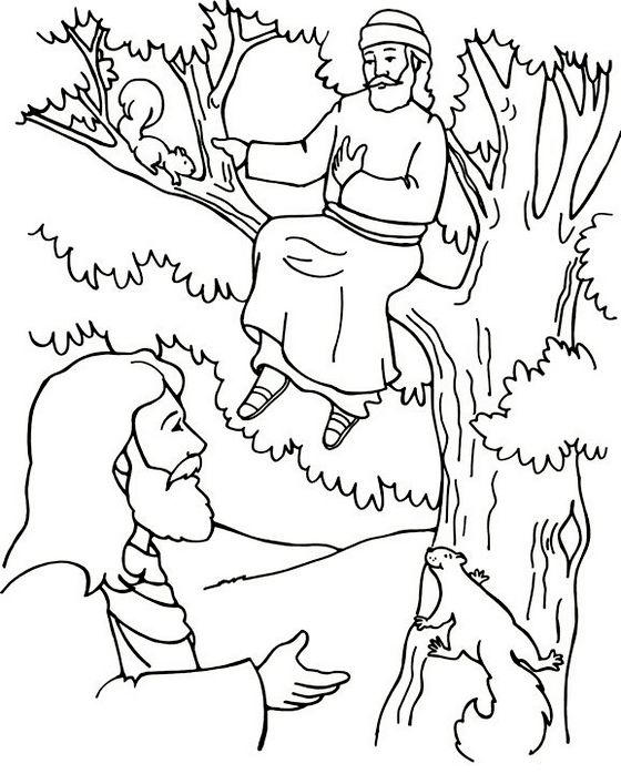 Zacchaeus Tree And Jesus Coloring Page