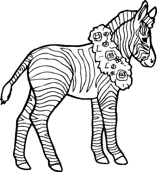 Zebra Coloring Pages With Wreaths