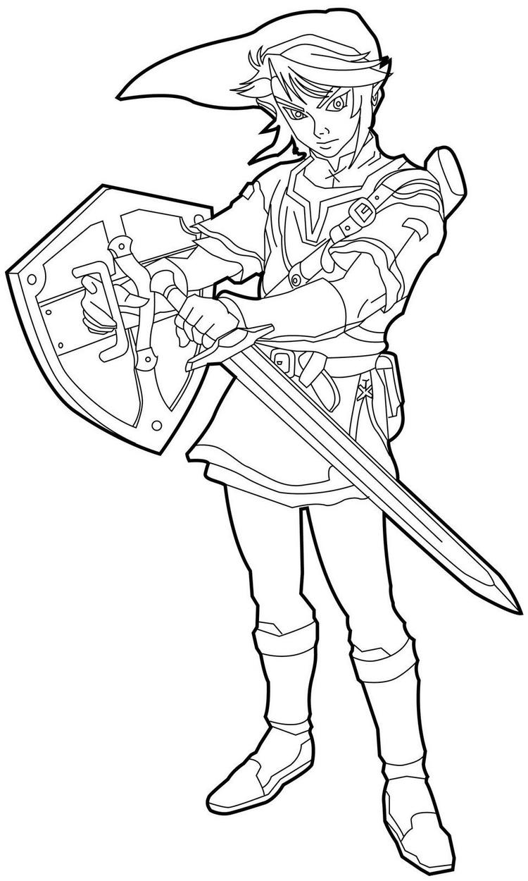 Zelda Coloring Pages Link With Sword