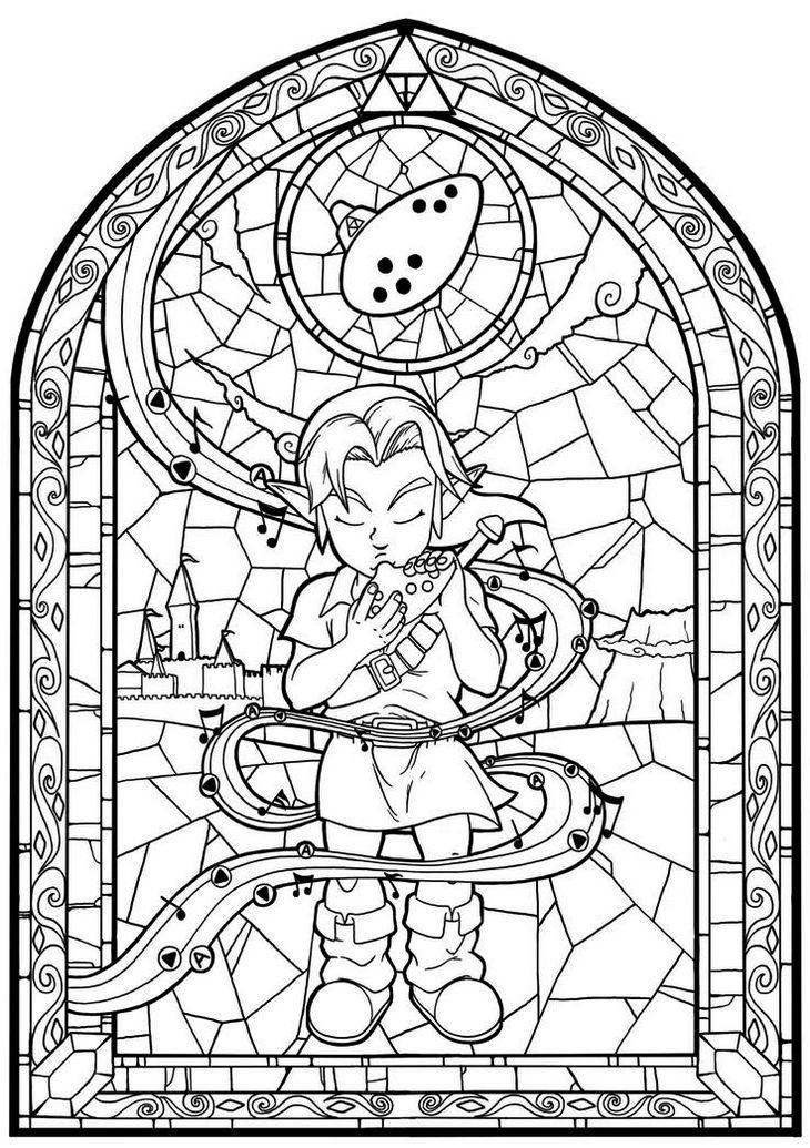 Zelda Coloring Sheets Stained Glass