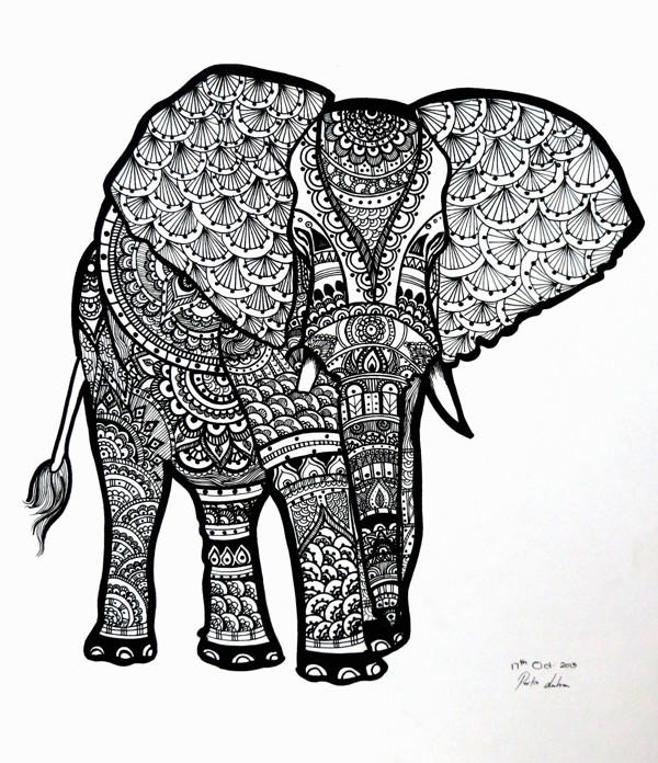 Zentangle Abstract Elephant Coloring Pages For Adults