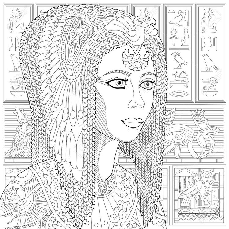 Zentangle Ancient Cleopatra Coloring Page