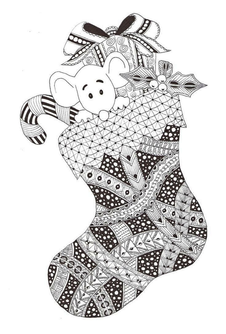 Zentangle Christmas Stocking Coloring Picture