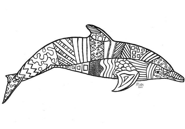 Zentangle Dolphin Coloring Page Printable