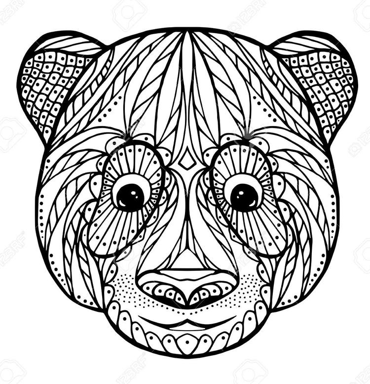 Zentangle Face Of Panda Coloring Page