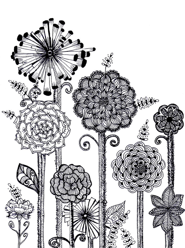 Zentangle Floral Coloring Sheet