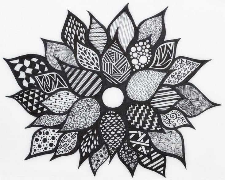 Zentangle Flower Coloring Picture