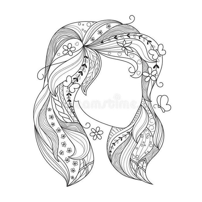 Zentangle Hair Coloring Pages