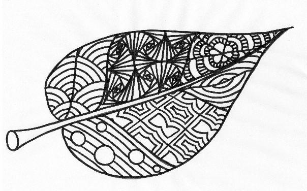 Zentangle Leaf Drawing