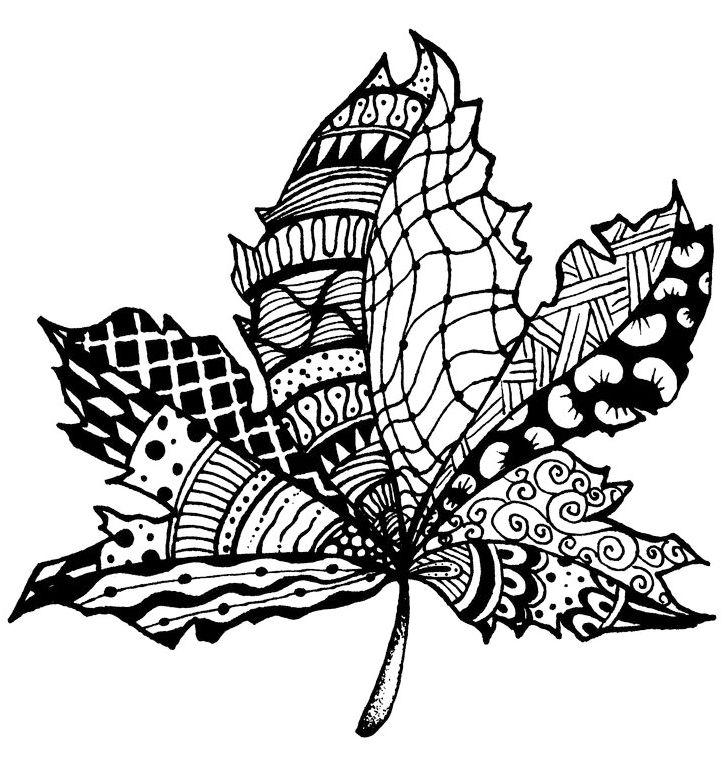 Zentangle Leaf Print Out Drawing