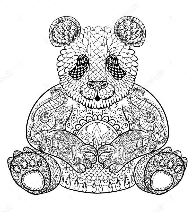 Zentangle Panda Print Out Drawing