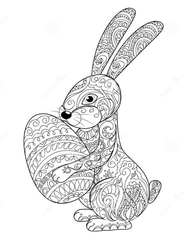 Zentangle Rabbit Easter Coloring Page