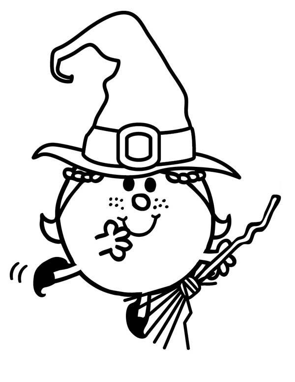 Zombie And Witches Flying With Magic Broom In Mr Men And Little Miss Coloring Pages