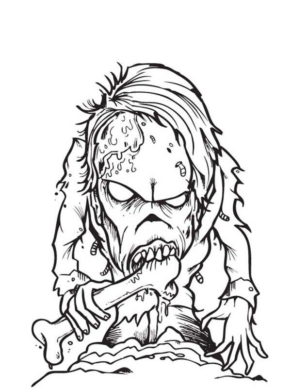 Zombie Coloring Pages Eating Bone