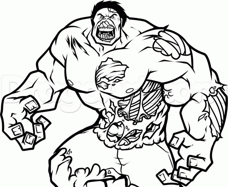 Zombie Hulk Colouring Pages