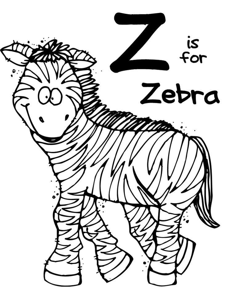 Zoo Animal Coloring Pages Z For Zebra