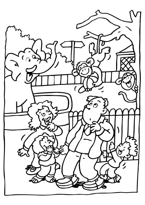 Zoo Coloring Pages Family In Zoo
